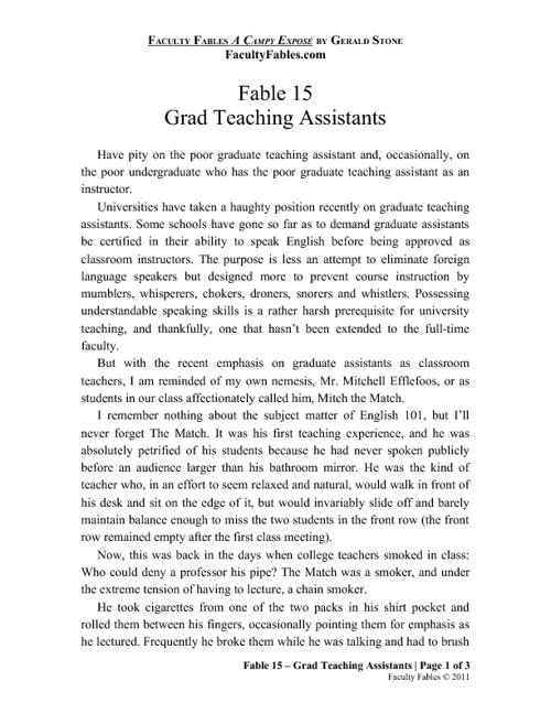 Fable 15 - Grad Teaching Assistants