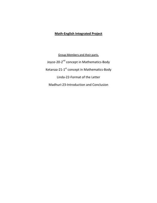 Math-English Project