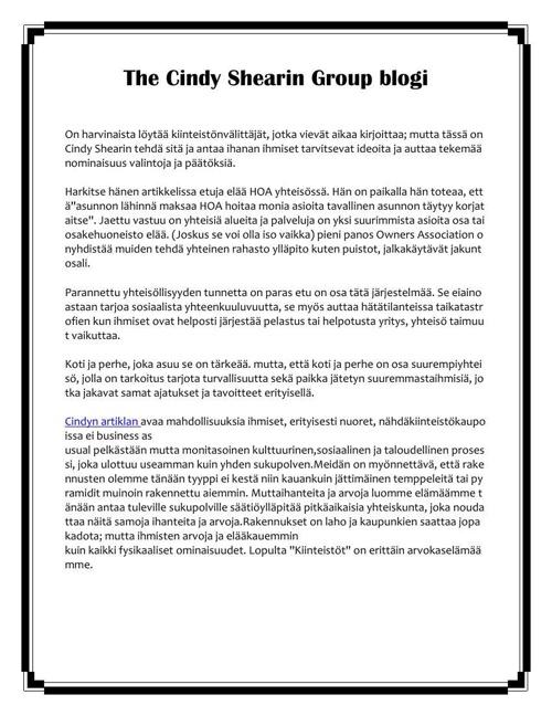 The Cindy Shearin Group blogi