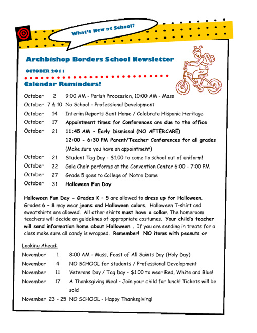 October 2011 Newsletter- Archbishop Borders School