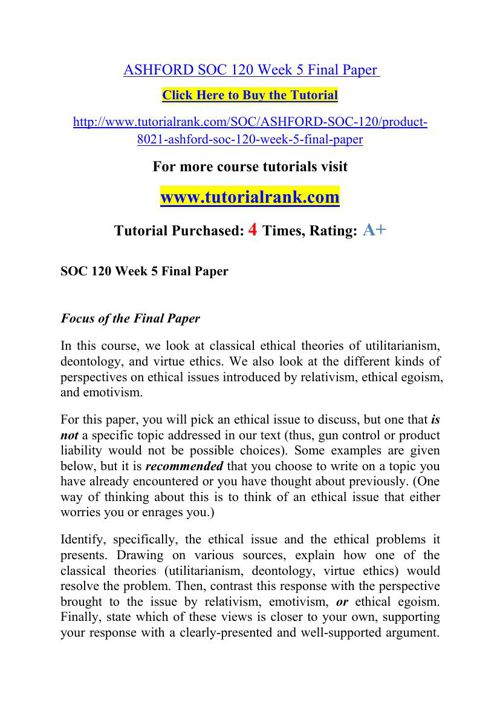 ASHFORD SOC 120 Week 5 Final Paper