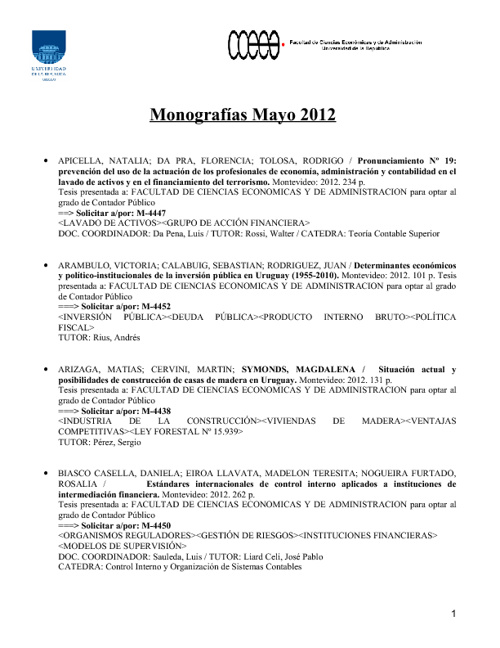 Monografías Mayo 2012