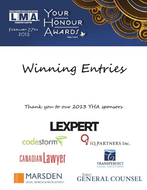 LMA Toronto 2013 YHA Winners