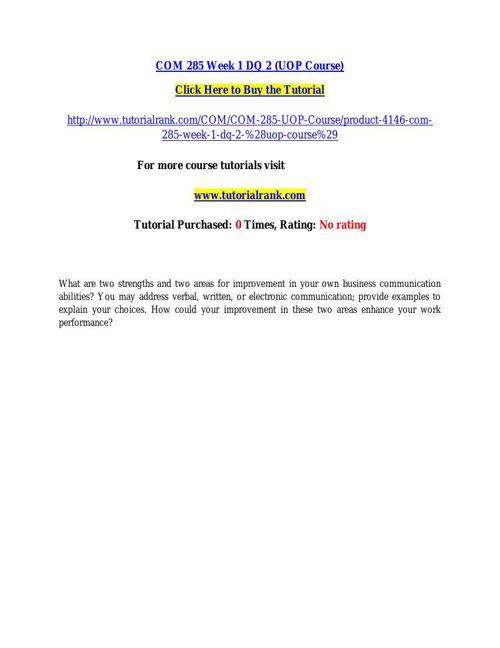 COM 285 learning consultant / tutorialrank.com
