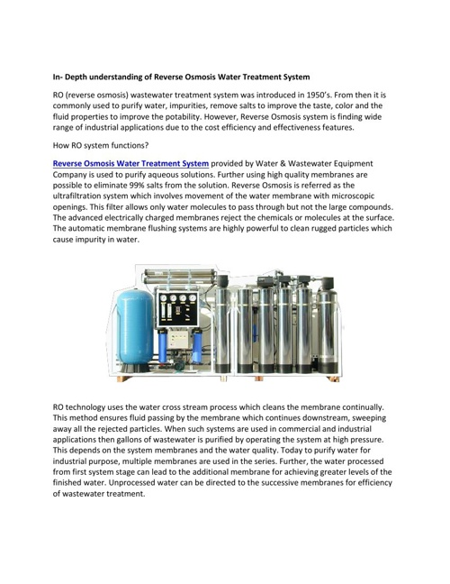 Reverse Osmosis Water Treatment System