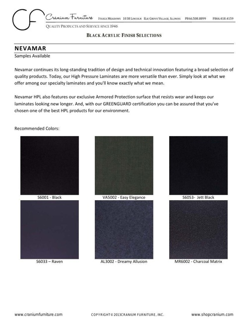2013 Black Acrylic Finishes Collection