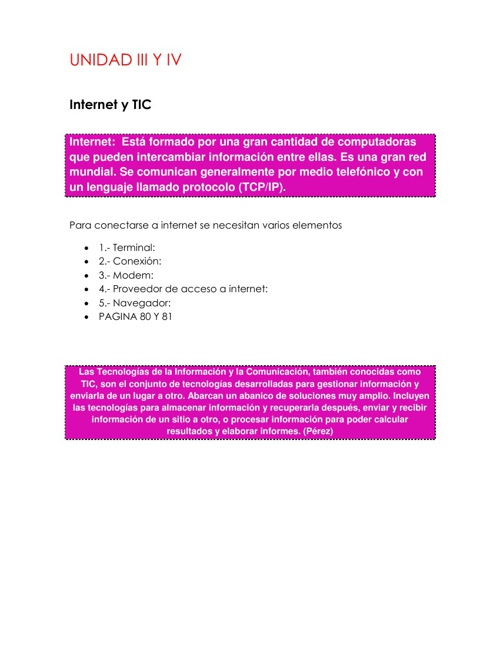 Internet y TIC unidad 3 y 4