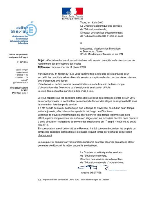 Directeurs affectation des admissibles CRPE 2013 2 19 06 2013