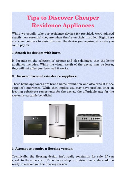 Tips to Discover Cheaper Residence Appliances
