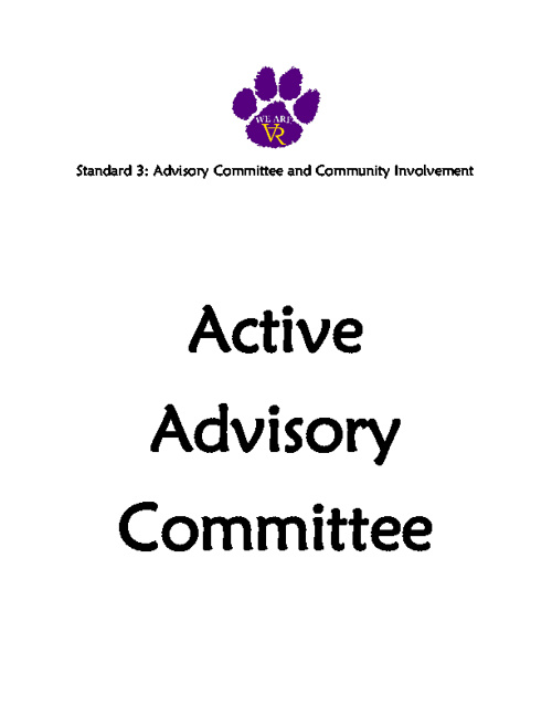 Standard 3: #30 #31 #32 #33 Active Advisory Committee
