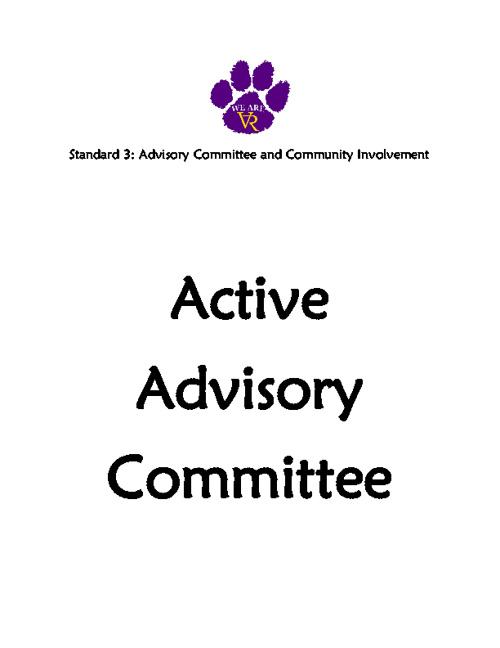 Standard 3: #30 #31 #32 #33 Active Advisory Committee