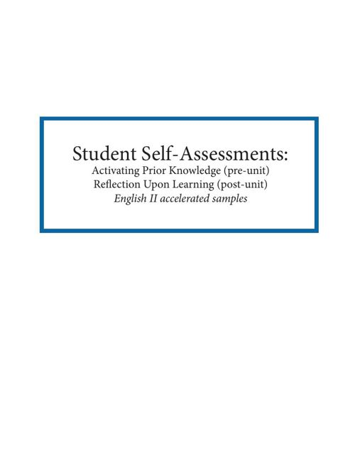 Student self-assessments from English II a