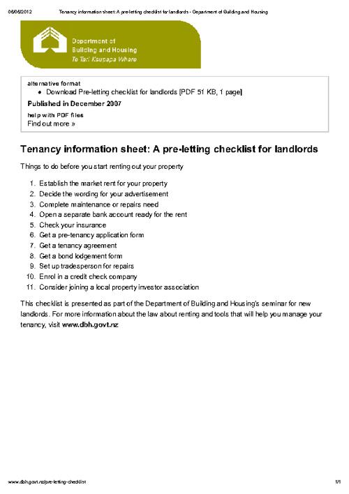 Pre-letting checklist
