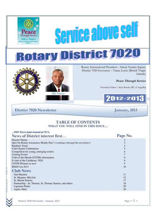 District 7020 Newsletter, January 2013