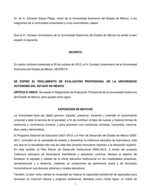 Reglamento de Ev Prof UAEM 2012