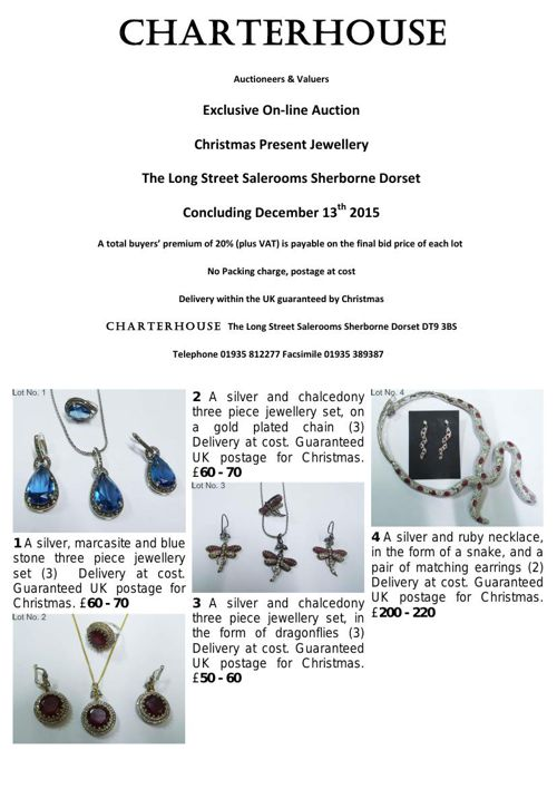 Charterhouse December 2015 on-line Christmas Jewellery auction