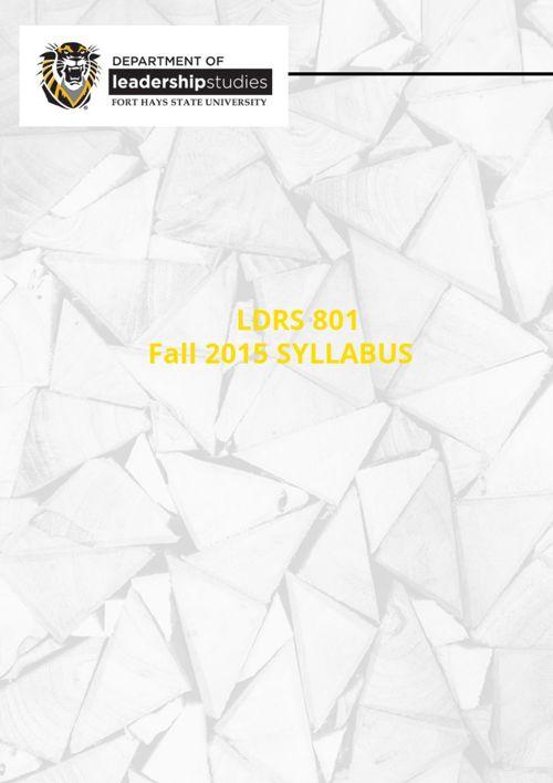 LDRS801 Fall 2015 Syllabus