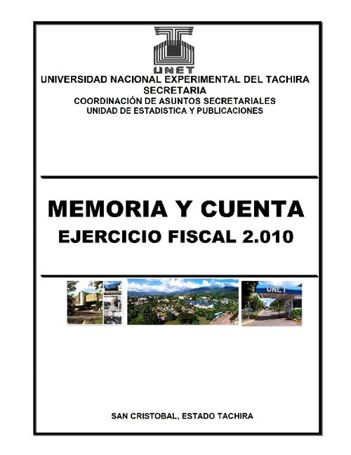 Memoria y Cuenta UNET 2010