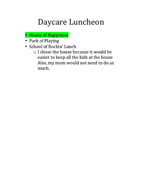 MM2 Daycare Luncheon Project