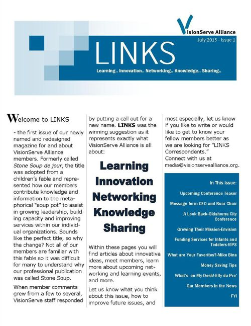 VisionServe Alliance LINKS July 2015 Issue 1