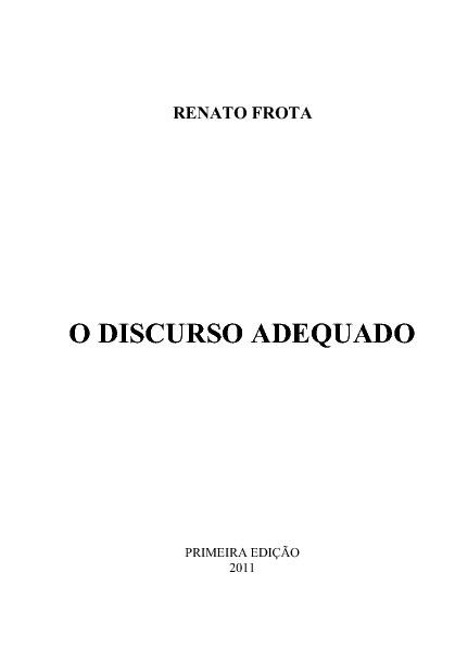 O DISCURSO ADEQUADO