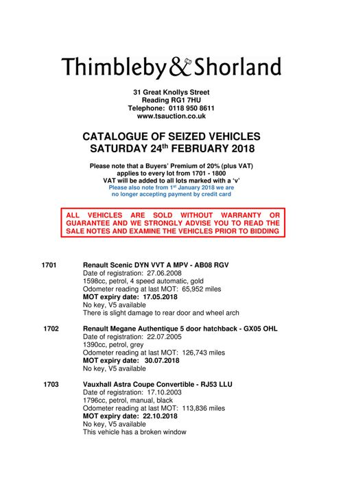 Seized Vehicle Catalogue