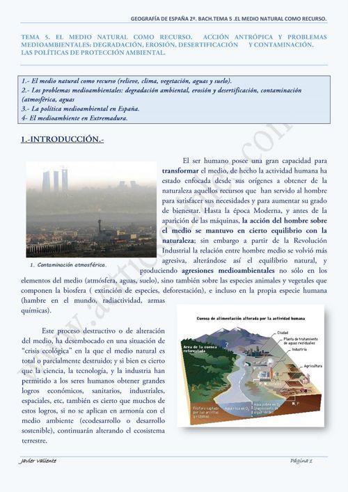 TEMA 5. EL MEDIO NATURAL COMO RECURSO. ACCION ANTROPICA.(1)