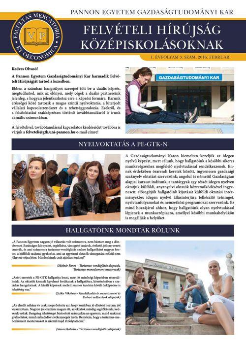 PE-GTK Felvételi Hírújság Középiskolásoknak 2016. február
