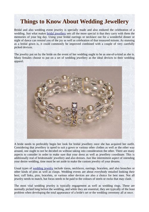 Things to Know About Wedding Jewellery
