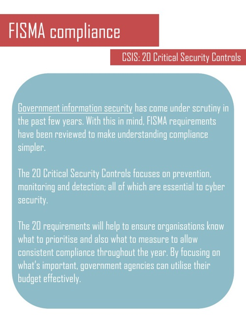 FISMA - CSIS 20 Critical Controls