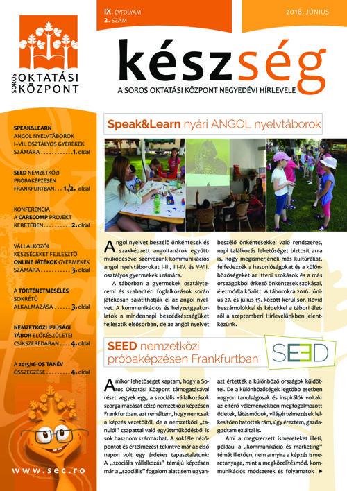 A Soros Oktatási Központ 2016. nyári hírlevele