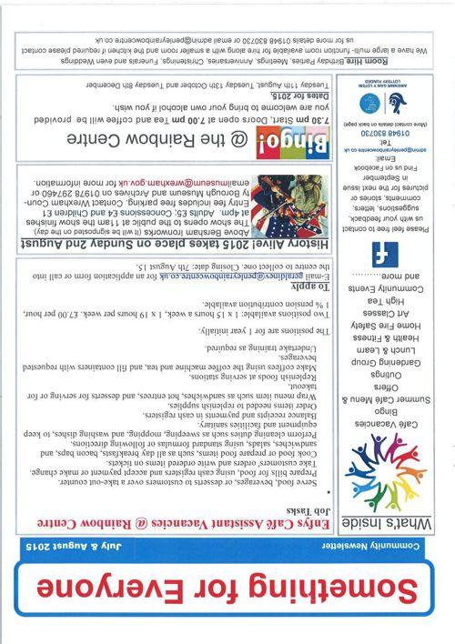 Newsletter July &  August 2015
