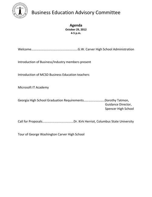 Bus Ed Adv Com 10-29-12 Agenda