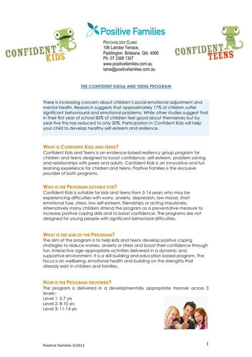 Confident Kids Program Information