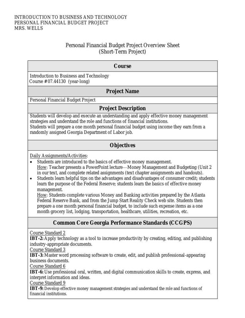 Personal Financial Budget Project 2014
