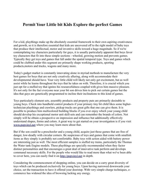 Permit Your Little bit Kids Explore the perfect Games