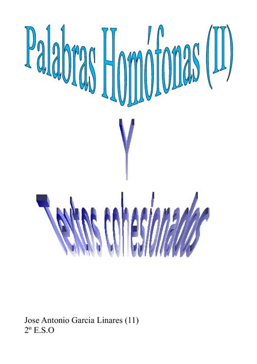 Palabras homófonas (II) y textos cohesionados