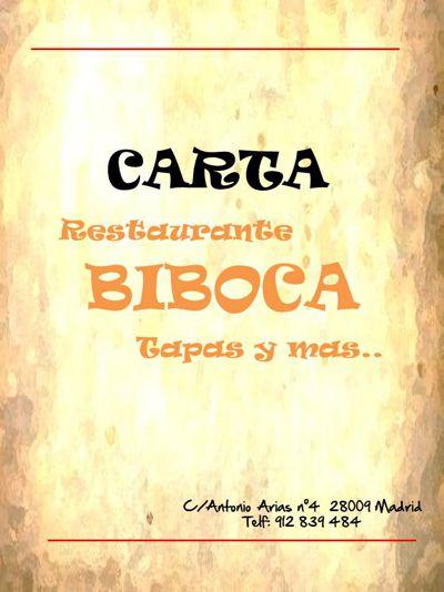 Carta Restaurante BiBoca