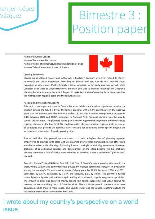 bimestre 3 : Position Paper