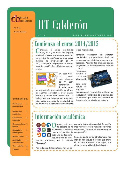 Boletín de octubre del IES Calderón de la Barca de Pinto