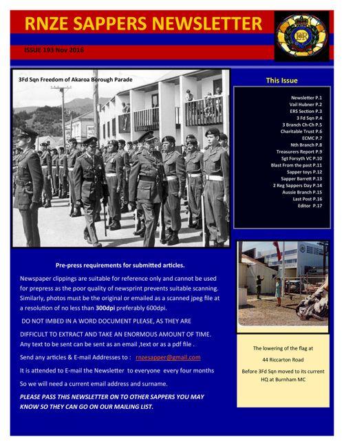 Sappers Newsletter 193 Nov 2016