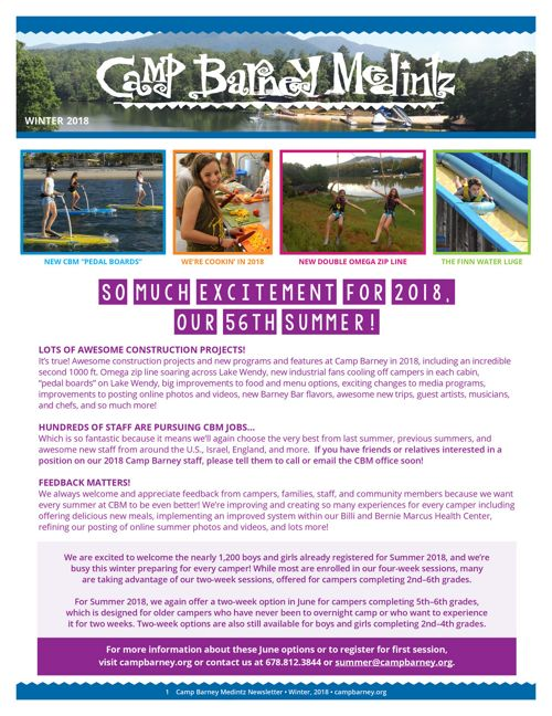 Camp Barney Medintz Newsletter Winter 2018