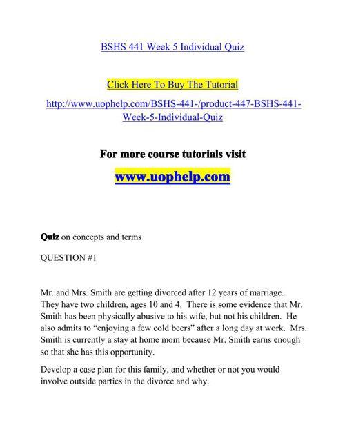 BSHS 441 Week 5 Individual Quiz