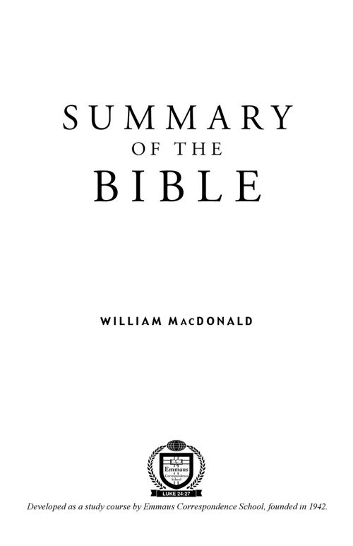 Summary of the Bible PDF