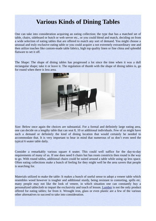 Various Kinds of Dining Tables