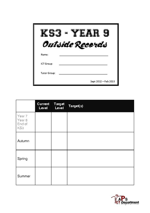 Year 9 Outside Records Booklet