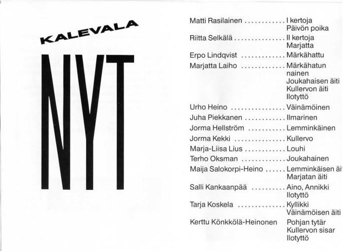 Kalevala nyt - Kulttuuritalon Teatteri v.1989