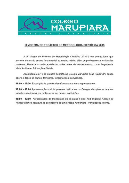 III Mostra de Projetos de Metodologia Científica - Marupiara
