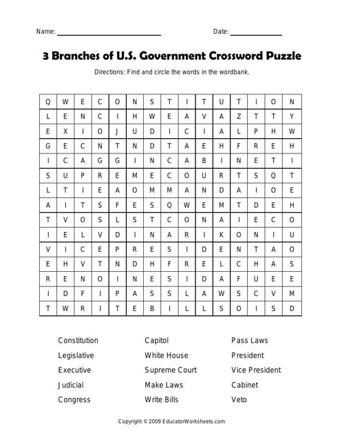 3 Branches of U.S. Government Crossword Puzzle