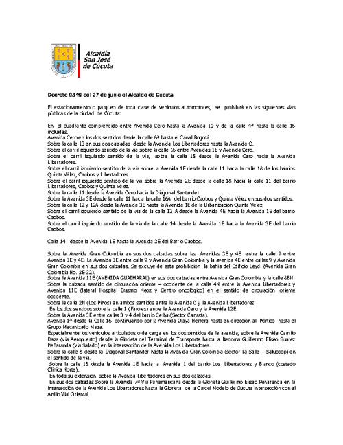 Decreto 0340 del 27 de junio el Alcalde de Cúcuta